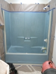 Blue fiberglass tub/shower before color change
